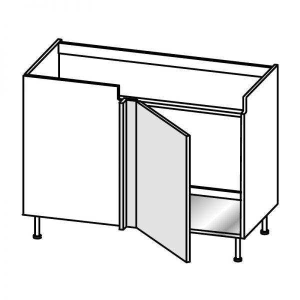 Base lavello angolo 1 anta DX H.75 P.58/64 L.124 cm