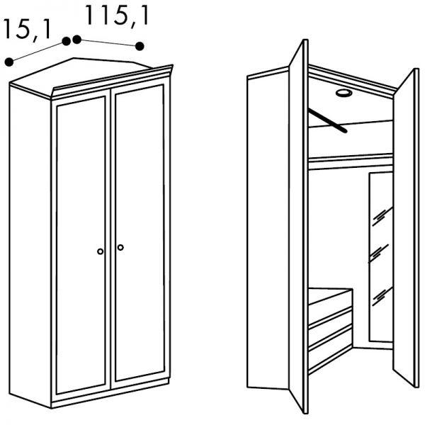 Vendita mobili online - Cabina armadio angolo L.115,1x115 ...