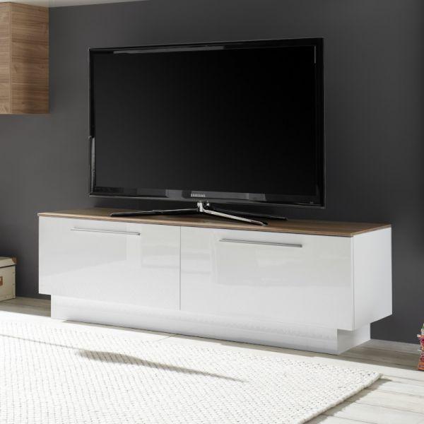 Base TV 1 cassetto 1 ante ribalta bianco laccato lucido con top noce stelvio