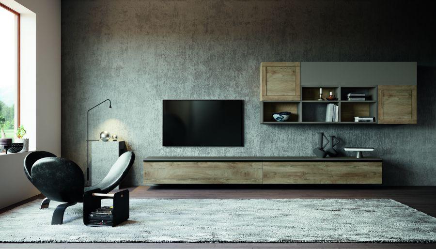 Parete attrezzata in finitura essenza legno quercia e colorato grigio cenere. Basi sospese con maniglia MT03 nera