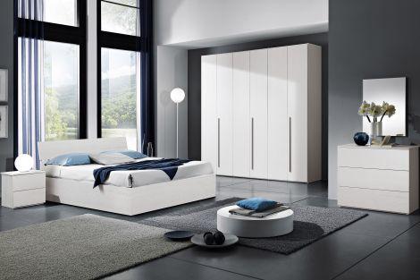 Camera da letto moderna completa con armadio, letto contenitore, comodini, cassettiera e specchio finitura olmo