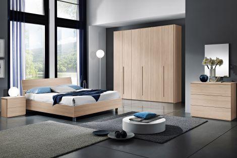 Camera da letto moderna completa in finitura bianco frassinato