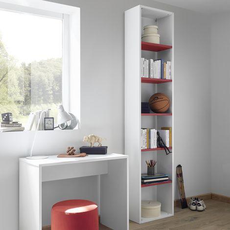 Libreria bianco laccato opaco con tre mensole rovere blu