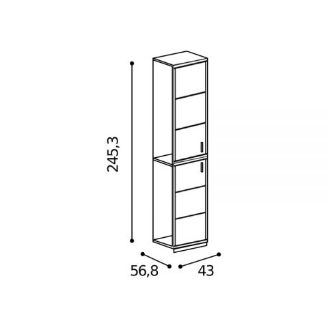 Elemento armadio 2 ante L.43 H.245,3 con riquadri MARTINA