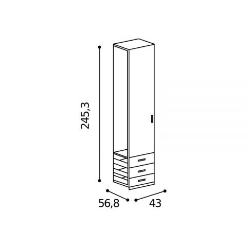 Elemento armadio 1 anta 3 cassetti L.43 H.245,3 MARTINA