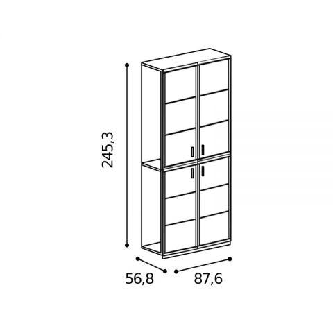 Elemento armadio 4 ante L.87,6 H.245,3 con riquadri MARTINA