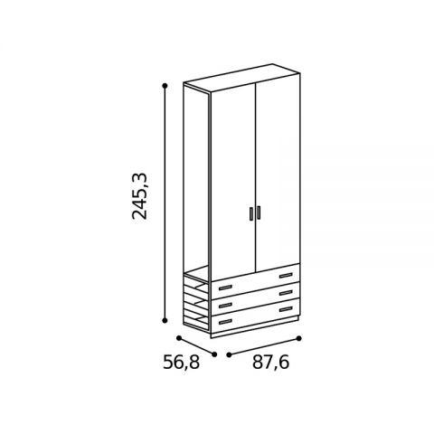 Elemento armadio 2 ante 3 cassetti L.87,6 H.245,3 MARTINA