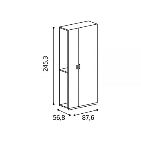 Elemento armadio 2 ante asimmetrico L.87,6 H.245,3 MARTINA