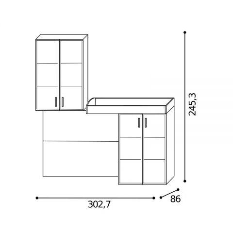 Elemento soppalco L.302,7 con riquadri Dx MARTINA