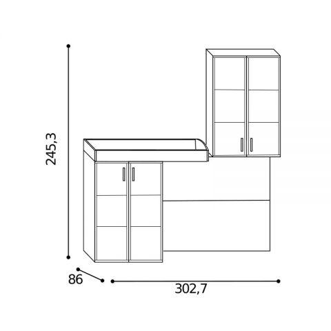 Elemento soppalco L.302,7 con riquadri Sx MARTINA
