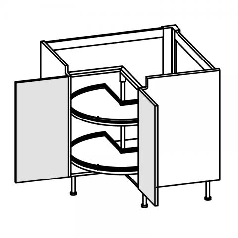 Base angolo 2 ante con girelli H.75 94x94 cm IMOLA