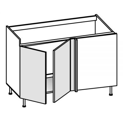 Base lavello angolo 2 ante SX H.75 P.58/64 L.154 cm IMOLA