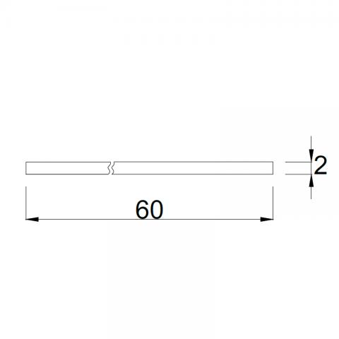 Top bordo ABS 1 lato P.60 H.6 cm