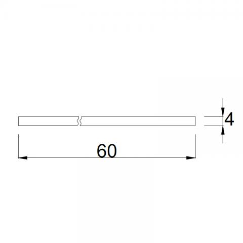 Top bordo ABS 3 lati P.60 H.4 cm