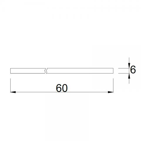 Top bordo ABS 3 lati P.60 H.6 cm