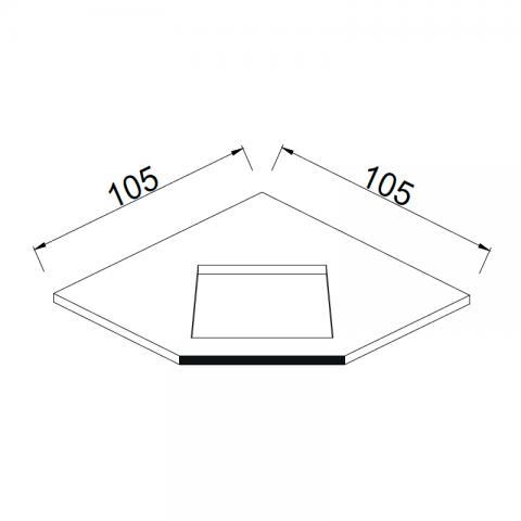 Top angolare postformato frontalmente 105x105 H.6 cm