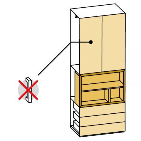 Elemento armadio 2 ante e cassetti/vano a giorno L.89 H.245 IAGO