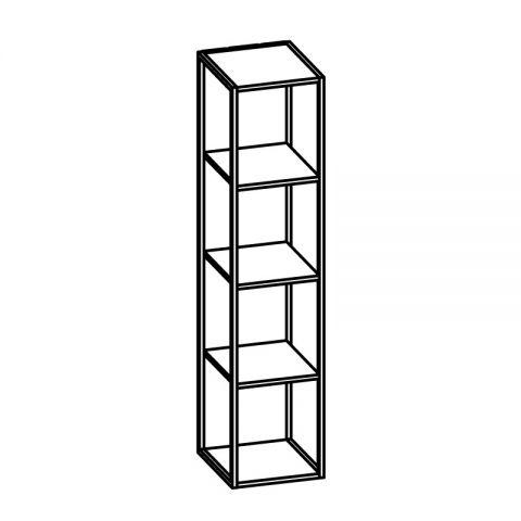 Libreria con telaio alluminio L.30 H.132 P.34 cm ITALO