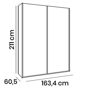armadio scorrevole H.211 olmo o bianco
