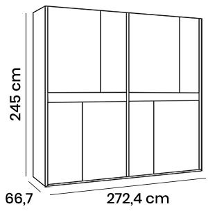 armadio scorrevole H.245 cm due ante maxi olmo
