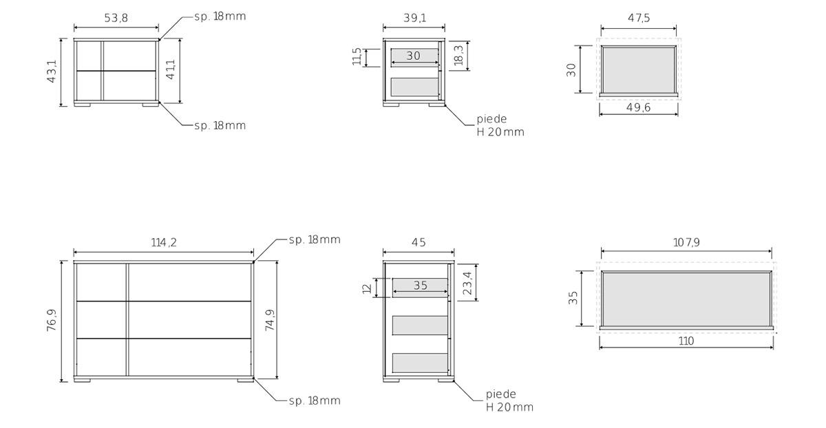 comodini e cassettiera per camera da letto moderna