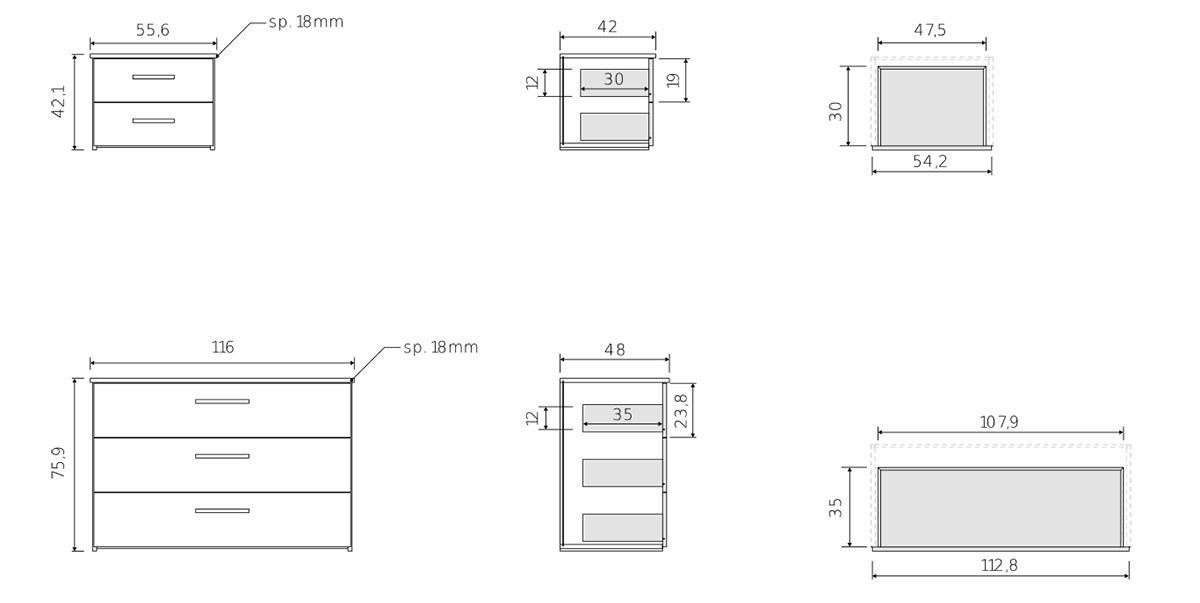 comodini e cassettiera camera design moderno