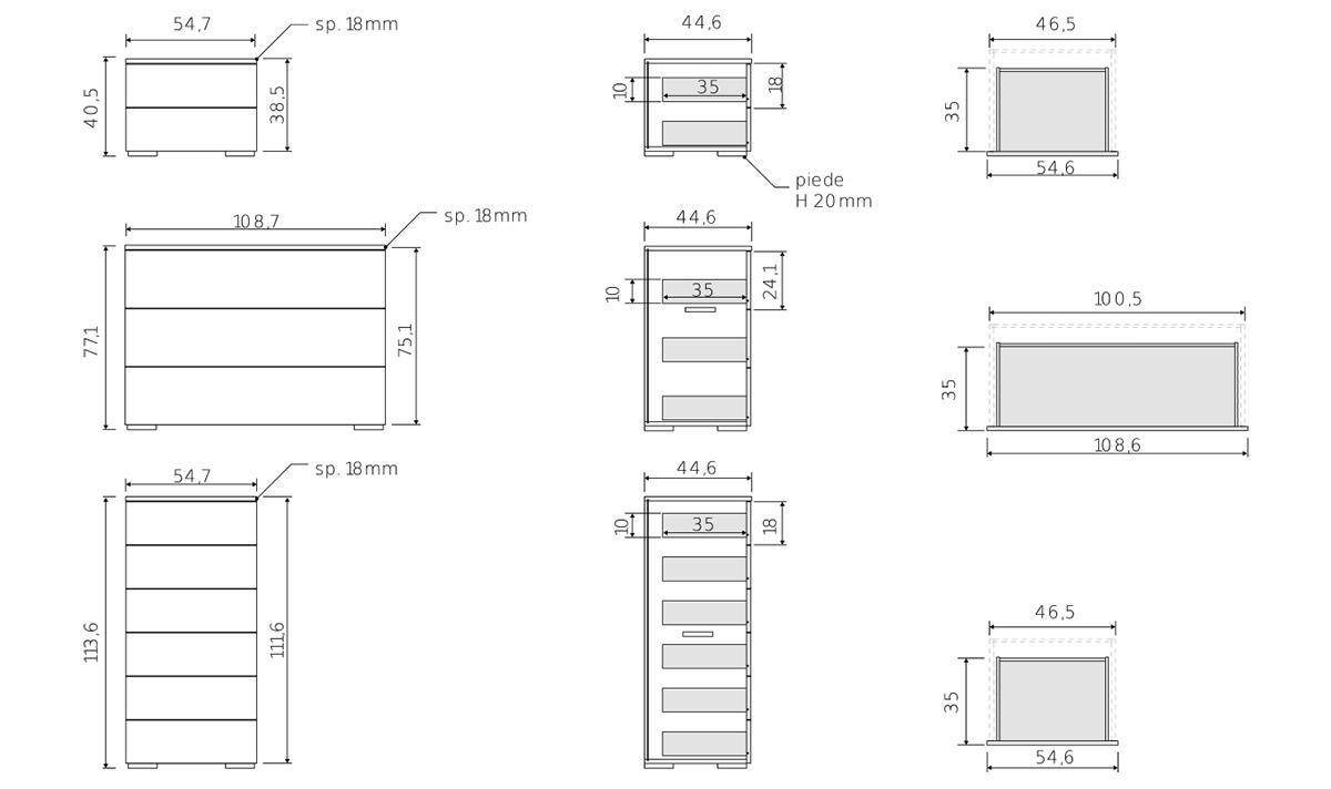 comodini, settimino e cassettiera camera design moderno