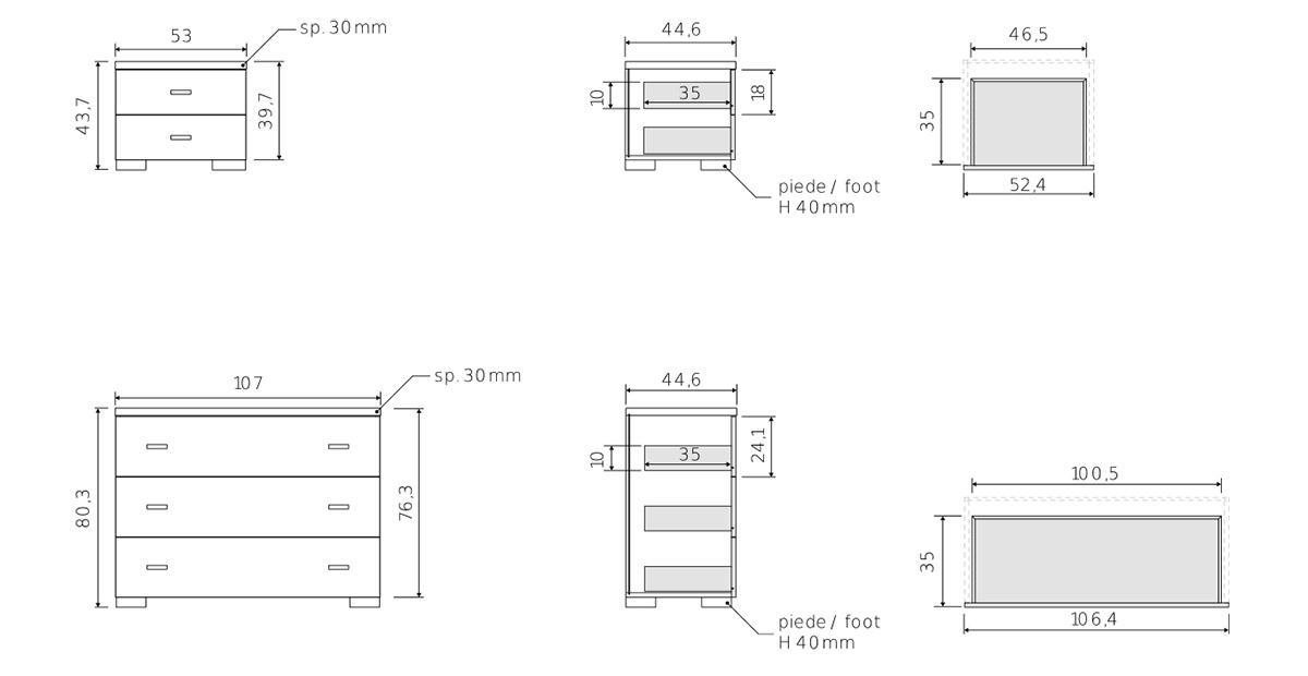 comodini e cassettiera camera moderna