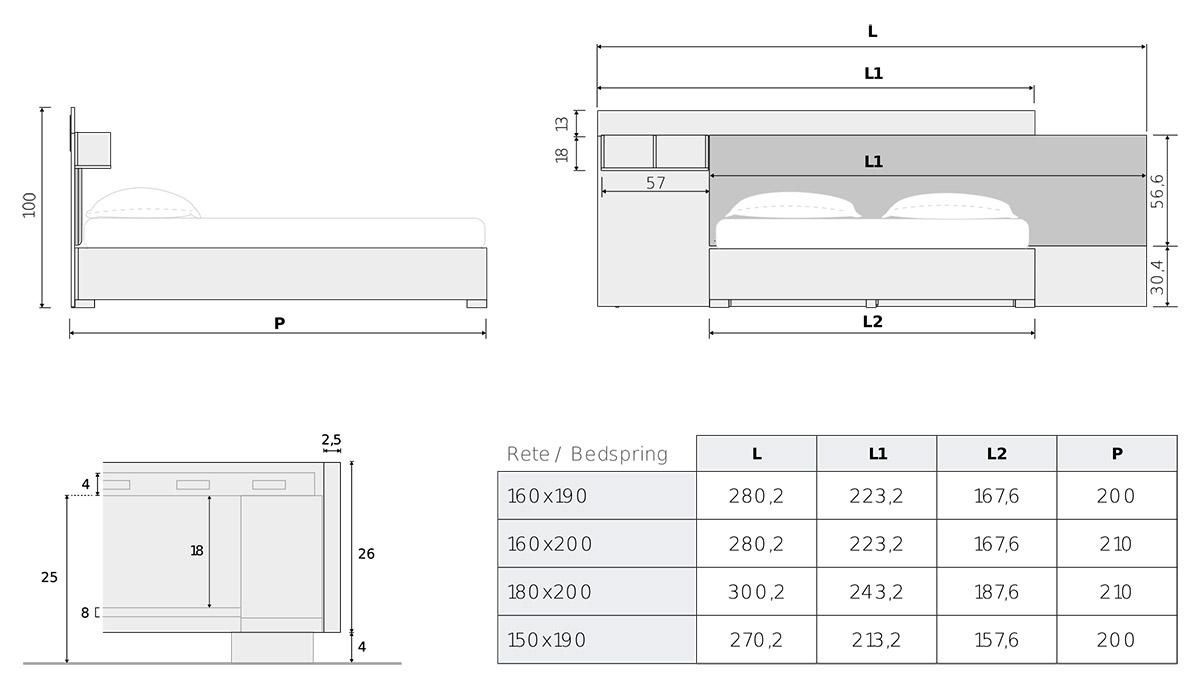 letto design moderno essenza legno colorato