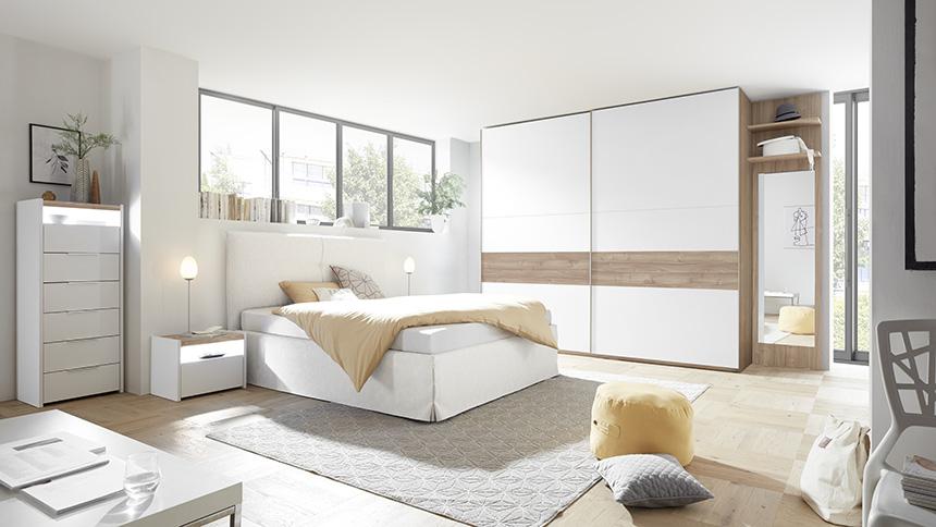 camera moderna bianco noce e cemento