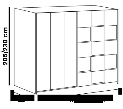 armadio scorrevole bianco opaco  e rovere colorato