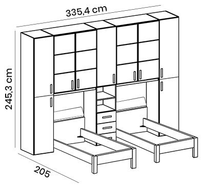 cameretta doppio ponte con riquadri letti singoli