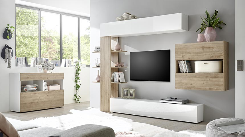 soggiorno bianco lucido cemento e rovere
