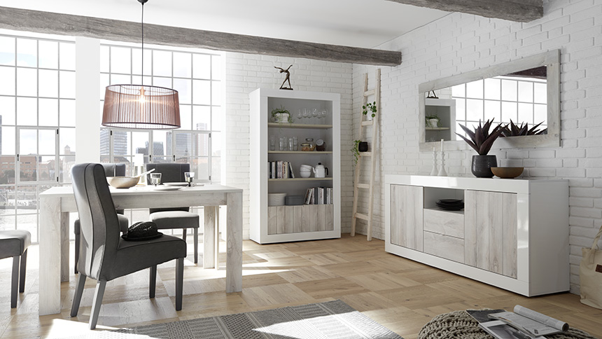 soggiorno bianco lucido pino bianco o noce