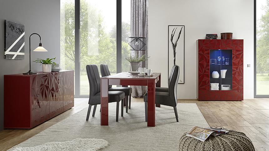 soggiorno moderno con serigrafia geometrica